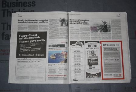 Five ads over two pages of The Independent (pic: Nick Clapp)