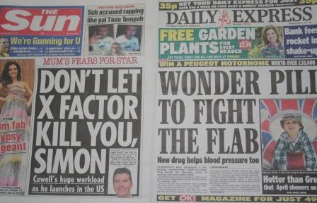 Monday's Sun and Express (Pic: Nick Clapp)